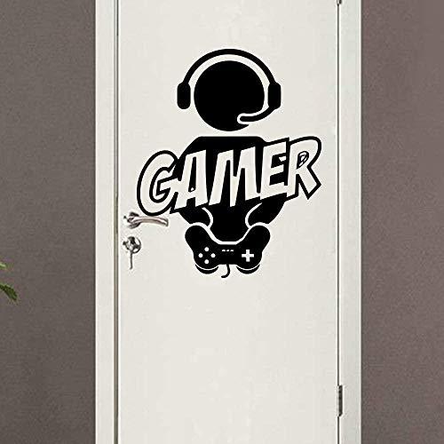 Pegatinas De Pared Videojuegos Gaming Gamer Wall Decal Art Decor Sticker Vinilo Gamer Calcomanía Negro 57X53Cm