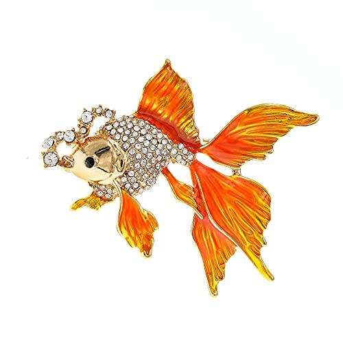 Broches De Peces De Oro Para Las Mujeres Lindo Animal Diseño De Rhinestone Design Broche Pin Enamel Jewelry Regalos Accesorios Vintage