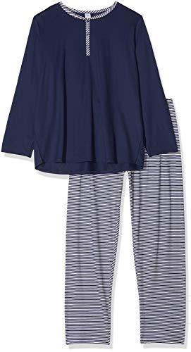 Calida Damen Soft Jersey Fun Zweiteiliger Schlafanzug, Blau (Peacoat Blue 488), 48 (Herstellergröße:L)