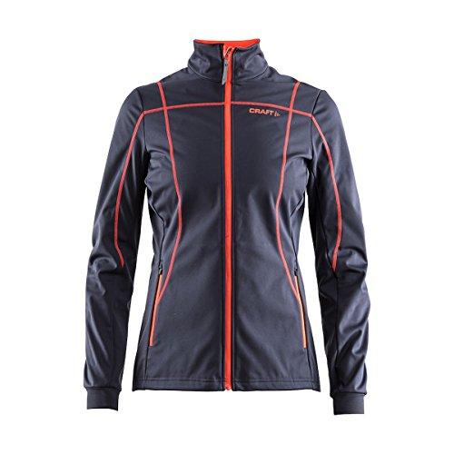 Craft Damen Jacke Force Nordic Cross Country Langlauf Reflektierender Reißverschluss 3-lagig Softshelljacke, Damen, Gravel/Panic, Medium