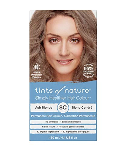 Tints of Nature 8C Ash Blonde, Vegan Permanent Hair Dye, 95% Natural, Free from Ammonia, Parabens, and Propylene Glycol, Single