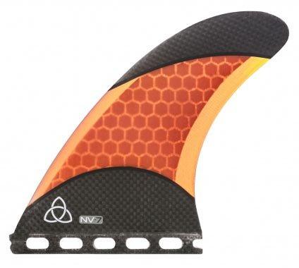 Naked Viking Surf - NV-7.0 Thruster Surfboard Fins, Medium (Set of 3 Fins) FCS & Futures Compatible (Orange Carbon Fiber, Futures)
