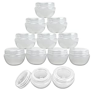 Beauticom 12 Pieces 20G/20ML White Frosted Container Jars with Inner Liner for Pills, Medication, Ointments and Other Beauty and Health Aids - BPA Free