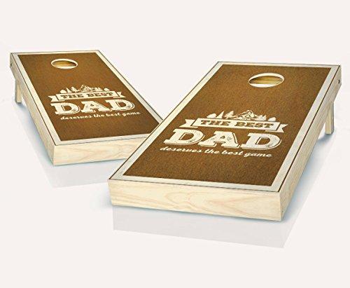 Best Dad Chestnut Stained Custom Cornhole Boards Regulation Size Game Set Baggo Bean Bag Toss + 8 ACA Regulation Bags