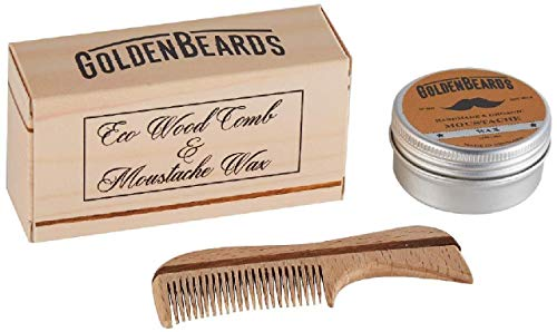 Cera para bigote y peine de madera ecológica T- Obtén...