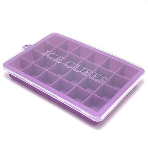 CTOBB 5 Farben 24 Grids Silikon Ice Cube mit Deckel Umweltfreundlich Cavity-Behälter-EIS-Würfel klein Obst Form-EIS-Maschine für Eiswürfel, Lila mit Deckel