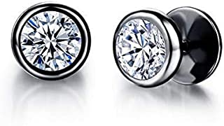 PK-325BK Fashionable Stainless Steel with Round Cubic Zirconia Stud Earring for Men