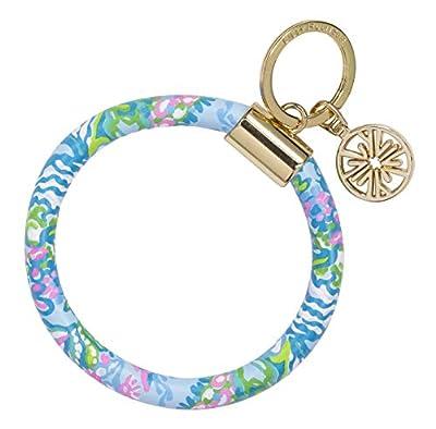 Lilly Pulitzer Blue/Pink/Green Leatherette Round Key Ring Chain, Aqua La Vista by Lifeguard Press