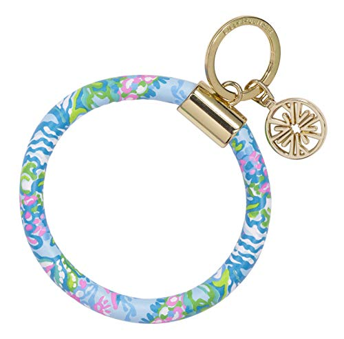 Lilly Pulitzer Blue/Pink/Green Leatherette Round Key Ring Chain, Aqua La Vista