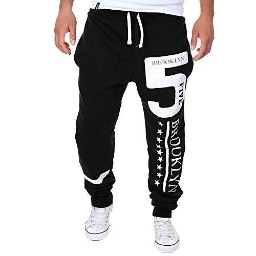 LANSKIRT_Pantalones de Chándal de Hombre con Estampado Digital y Estrella 2019, Pantalón de Trabajo Jogger Sueltos Pantalones de Hip Hop Modernos Overol Deporte