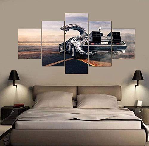 5 paneles de arte de pared Cuadro compuesto por 5 lienzos impresos en HD, utilizados para decoración del hogar y carteles (enmarcados)- Regreso al futuro