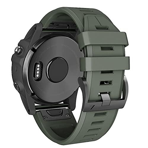 ANBEST Silikon Uhrenarmband Kompatibel mit Fenix 5/Fenix 6/Fenix 5 Plus/Fenix 6 Pro Armband Schnellspanner Armbänder Ersatzarmband Passend für Forerunner 935/945, Armee Grün