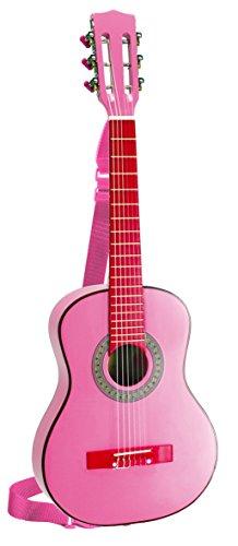 Bontempi GSW 7571/S - Guitarra de madera con la correa y pegatinas, color rosa, 75 cm