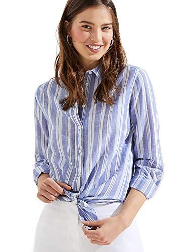 Ann Taylor LOFT Women's Gauze Tie-Front Button-Down Shirt (Large, Blue/White Striped)
