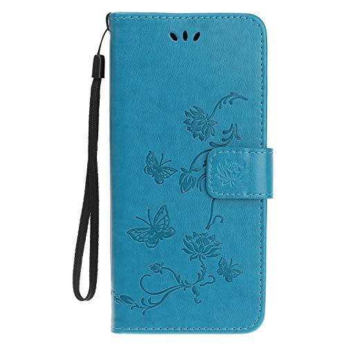 Reevermap Samsung Galaxy A50 Hülle, Handyhülle Tasche Leder Flip Hülle Brieftasche Etui Ständer Book Blume Schmetterling Muster Schutzhülle für Samsung Galaxy A50 Cover - Blau