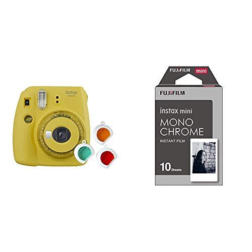 Fujifilm instax Mini 9 Kamera mit Farblinsen, gelb & Mini Frame WW1 Monochrom, Bunt