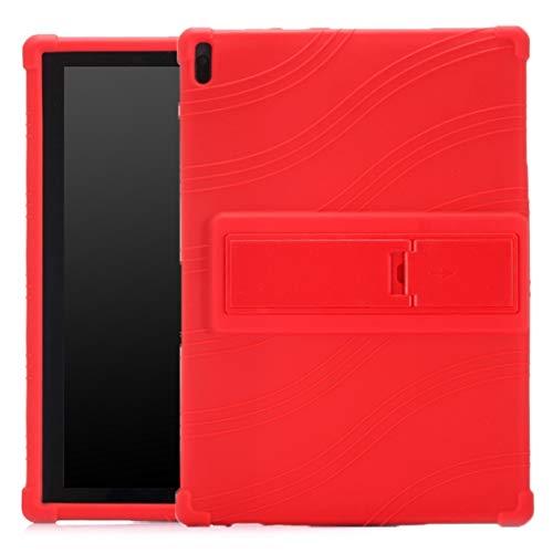 XHEVAT Funda protectora de silicona para tablet Lenovo Tab E10 con soporte invisible, color rojo