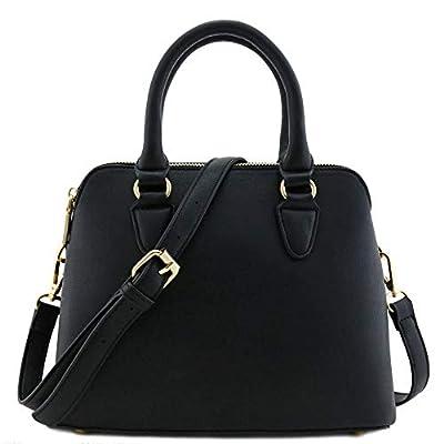 Classic Double Zip Top Handle Dome Satchel Bag