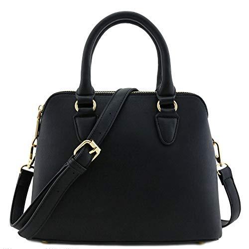 Classic Double Zip Top Handle Satchel Bag Black