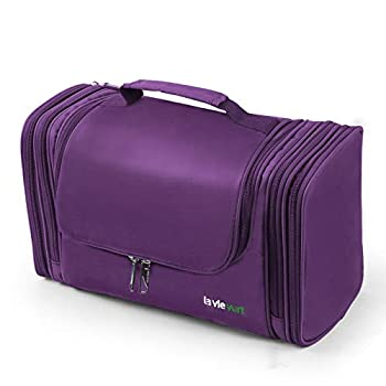 Lavievert Toiletry Bag / Makeup Organizer / Cosmetic Bag / Portable Travel Kit Organizer / Household Storage Pack / Bathroom Storage with Hanging for Business Vacation Household - Purple
