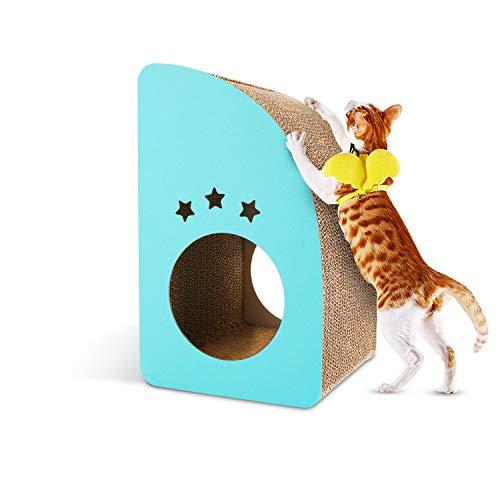 Petoru 爪とぎ 猫 つめとぎ 段ボール 猫ハウス 高密度 耐久 爪磨き 家具傷防止 運動不足改善 ストレス解消 鈴つき 子猫向き ブルー