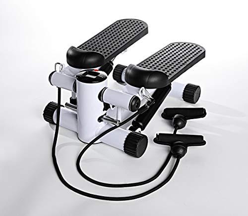 W B Mini Stepper mit Expander-Bändern | Integrierter Trainingscomputer | bis max. 150 kg belastbar | perfektes Ganzkörper-Training