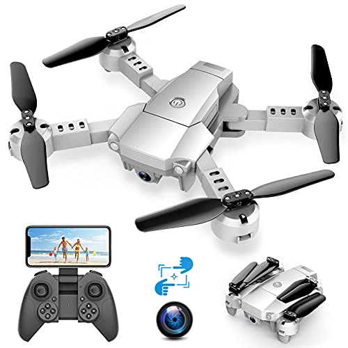 A10 Mini Faltbare Drohne mit 720P HD-Kamera FPV WiFi RC Quadcopter mit Sprachsteuerung, Gestensteuerung, Flugbahn, Kreisflug, 3D-Flips, G-Sensor, Kopfloser Modus