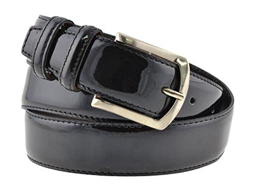 Cintura uomo in pelle vitello spazzolato, vernice nero, artigianale, made in italy, 3,5 cm. (110 cm (42/44-44/46 EU))