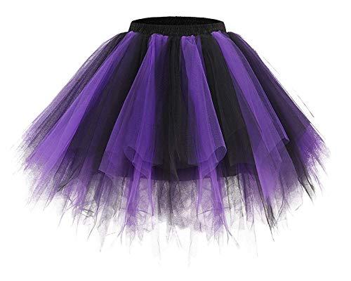 Women 80's Tutu Skirt Layered Tulle Petticoat Halloween Tutu Dance Skirt Purple Black M