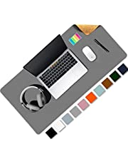 Aothia Eco-Friendly Natural Cork & Leather Double-Sided Office Desk Pad 80 * 40 cm Mouse Mat Smooth Surface Soft Easy Clean Waterproof PU Leather Desk Protector for Office/Home Gaming (Grey)