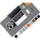 Almohadilla de escritorio de oficina de doble cara de corcho y cuero ecológico Aothia, alfombrilla de ratón, protector de escritorio para oficina/juegos en el hogar 80 * 40cm(Gris)