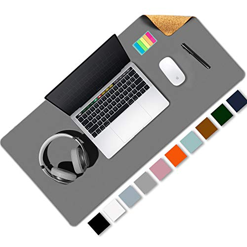 """Aothia Office Desk Pad, Natural Cork & PU Leather Dual Side Large Mouse Pad, Laptop Desk Table Protector Writing Mat Easy Clean Waterproof for Office Work/Home/Decor (Gray,31.5"""" x 15.7"""")"""