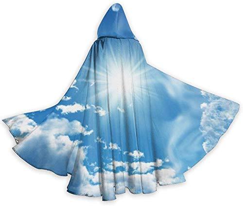 remmber me Blauer Himmel mit weißen Wolken Halloween-Umhang Fancy Hooded Cape mit Kordelzug Erwachsene Coole Hexen Robe Extra Long Party Cape 59x15.8 inch