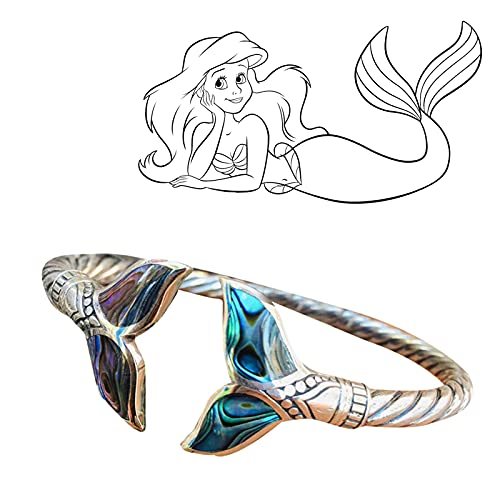 Pnckz Pulsera de concha de abulón y cola de sirena, cadena de mano abierta ajustable, pulsera de cola de sirena, regalo de San Valentín para niña, símbolo de bondad