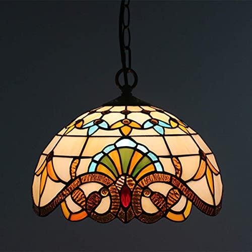 LXTIN Lámpara Colgante de Estilo Vintage Tiffany, lámpara Colgante de Techo con vidrieras pastorales Europeas de 12 Pulgadas para Dormitorio, Sala de Estar, Island Cafe Bar, E27, Barroco