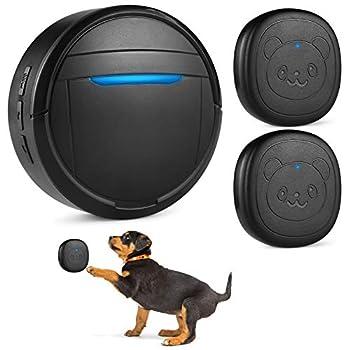 Pidsen Smart Dog Communication Door Bell Dog Wireless Doorbell Waterproof Touch Doorbell with 2 Transmitters for Dog Puppy Training Sliding Door/Go Outside  Black