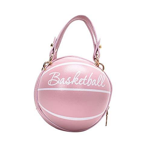 MOVKZACV Bolso de baloncesto redondo para mujer, bolso de baloncesto portátil con cadena de moda, bolso casual de PU con correa ajustable para el hombro
