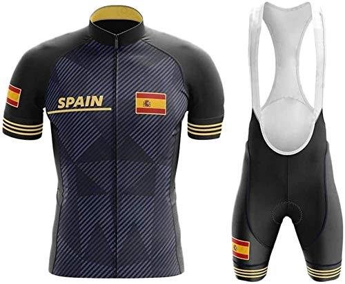 WOLFIRE WF Traje de Ciclismo para Hombre de Equipos. Culotte y Maillot. con 5D Gel Pad. para MTB, Spinning, Bicicleta de Carretera (M, España Negro)