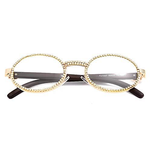 ShSnnwrl Único Gafas de Sol Sunglasses Gafas De Sol De Diamantes Redondas Vintage para Hombre, Nuevas Gafas De Lujo para Mujer, G