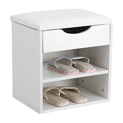 HHOSBFSS Blanco Hogar Shoe Rack, Zapato De Madera Bolsa De Almacenamiento Gabinete De Almacenamiento Gabinete De Salón De Asiento Engrosado Muebles De Zapatos