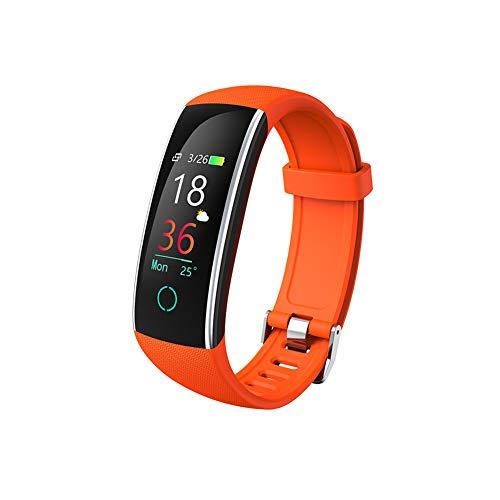 Lucun Rastreador de Ejercicios, rastreador de Actividad a Prueba de Agua con calorías de podómetro y Monitor de sueño, Reloj de Pulsera con Contador de Pasos para Mujeres Hombres niños,Orange