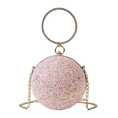 Baosity Bolso de mano bolso de lentejuelas, bolso de hombro de cadena metálica brillante bola redonda bandolera, Bolso pequeño de moda con purpurina Bolsos - Rosa