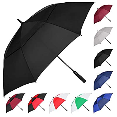 MRTLLOA Automatic Open Golf Umbrella, 62/68 Inch Extra-Large Oversized Double Canopy Vented Windproof Waterproof Stick Rain Golf Umbrellas for Men and Women (Black, 54 inch)