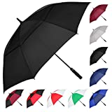 MRTLLOA Automatic Open Golf Umbrella, Extra-Large Oversized Double Canopy Vented Windproof Waterproof Stick Rain Golf Umbrellas for Men and Women(Black/62 in)