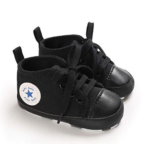 DEBAIJIA Bambino Scarpe Espadrillas 12-18M Suola Morbida Ragazzo Tela Sneaker Infantile Antiscivolo Traspirante 20 EU Nero Scuro (Dimensione Tag-3)
