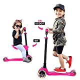 GOOGO Patinete de 3 Ruedas con Asiento Desmontable para Niños de 3 a 12 Años Scooter 3 Wheels con Luces LED, Barra Ajustable, Kick Scooter for Girl Boy(Rosa)