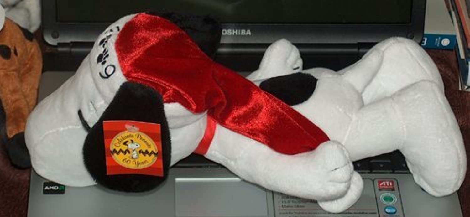 Peanuts Celebrate 60 Years 2009 13 Plush Snoopy with Santa Hat by Dan Dee