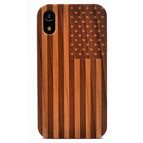 iPhone XR Case, Wood Case American Flag US Handmade Carving Real Wood Case Wooden Case Cover with Soft TPU Back for Apple iPhone XR (2018)