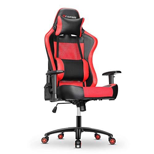mfavour Ergonomica Sedia da Gaming con Braccioli Regolabili, Sedia gaming in Stile da Corsa con Ruote Silenziose 360°, Rosso