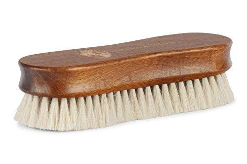 Langer & Messmer Cepillo lustrador | Cepillo para pulir zapatos hecho de pelo de cabra - cabello más denso para pulir bien en el cuidado del calzado